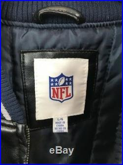 Dallas Cowboys Varsity Jacket NFL Size Large RARE Faux Leather