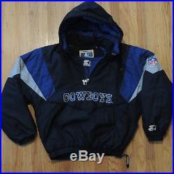 free shipping 9a751 3c61b Dallas Cowboys Vintage 90s Starter Jacket Black Blue ...