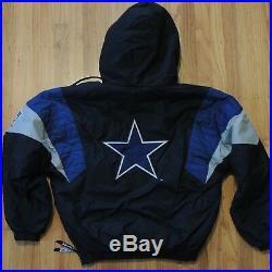 Dallas Cowboys Vintage 90s Starter Jacket Black Blue Pullover Big Logo Men Small