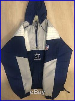 Dallas Cowboys Vintage 90s Starter PRO LINE 1/2 Zip Pullover Puffer Jacket XL