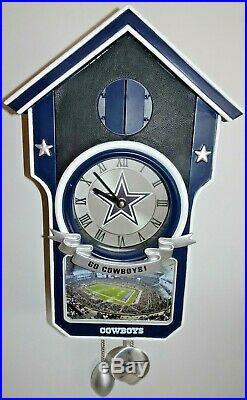 Danbury Mint NFL Dallas Cowboys Stadium 15 Cuckoo Clock Go Cowboys! Working
