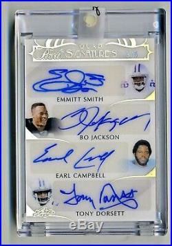 Emmitt Smith Tony Dorsett Bo Jackson E. Campbell 2019 Leaf Pearl Autograph #3/5