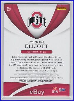Ezekiel Elliott 2018 Immaculate Collection Collegiate Auto Cowboys Autograph 1/1