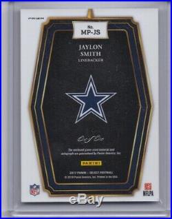 Jaylon Smith 2017 Select Black Auto Game Used Patch 1/1 Rare Dallas Cowboys