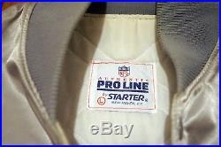 NFL Vintage Silver Dallas Cowboys STARTER Size L Satin Jacket