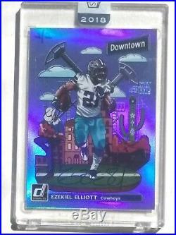 One (1) 2018 Donruss Football Autograph Ezekiel Elliott Downtown Dallas Cowboys