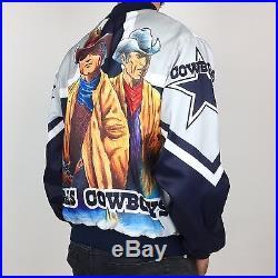 RARE Vintage 90s NFL Dallas Cowboys Chalk Line Fanimation Bomber Jacket Size M