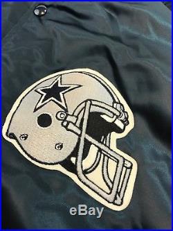 RARE Vintage Dallas Cowboys Chalk Line Mens NFL Snap Satin Jacket Sz Lg Football