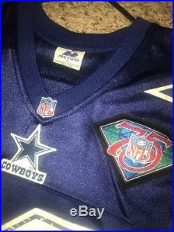 Rare Apex Authentic Emmitt Smith #22 XL Dallas Cowboys Star Jersey Sewn Autod