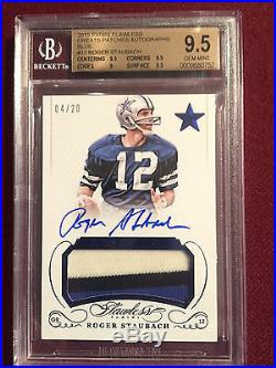 Roger Staubach 2015 Flawless Blue Great Patches Game Used Auto 4/20 BGS 9.5/10
