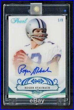 Roger Staubach 2018 Leaf Pearl Autograph Auto #1/5 Dallas Cowboys QB HOFer