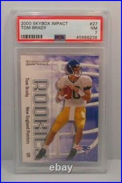 TOM BRADY 2000 Skybox Impact Rookie Card RC #27 Patriots PSA 7