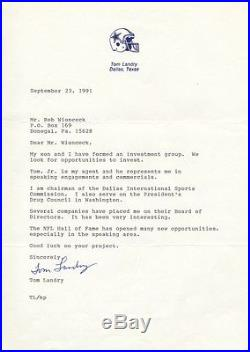 TOM LANDRY Autographed Signed Typed Letter NFL Hall of Fame Dallas Cowboys