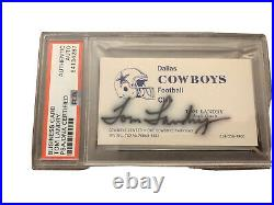 TOM LANDRY signed Business Card Head Coach Dallas Cowboys PSA Autographed HOF