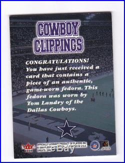 Tom Landry Dallas Cowboys Clippings Fedora Hat Tag Patch 2000 Fleer Greats 1/1
