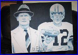 Tom Landry & Roger Staubach Dallas Cowboys Original Hand Painted Painting, 24x30