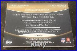 Troy Aikman/Tony Romo 2010 Dallas Cowboys Triple Threads Dual Booklet Auto SSP/9