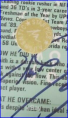 Very RARE Emmitt Smith autograph 1991 Star pics HOF Dallas Cowboys