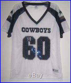 Victoria's Secret Pink NFL Large Dallas Cowboys Bling Sequin White Mesh Jersey