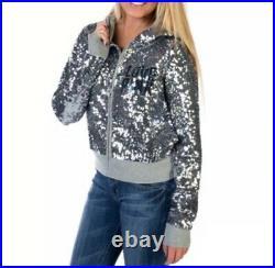 Victorias Secret Pink Dallas Cowboys Bling Sequins Jacket Size Large RARE