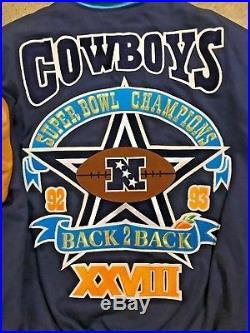 Vintage 1994 Jeff Hamilton Dallas Cowboys Back 2 Back Superbowl Jacket Size XL