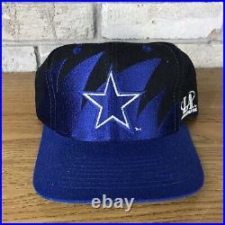 Vintage 90s Dallas Cowboys Logo Athletic Sharktooth Snapback Hat Cap Blackdome