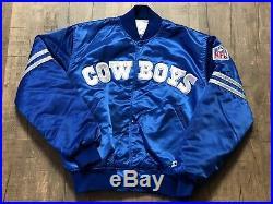 Vintage Dallas Cowboys Starter Satin Jacket NFL Mens Large Royal Blue Rare