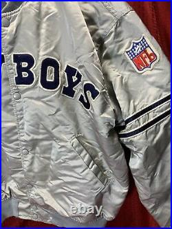 Vintage Pro Line Starter Mens NFL Dallas Cowboys Jacket Sz XL RARE SILVER COLOR