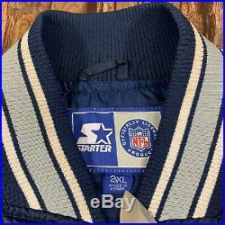 Vintage Starter Dallas Cowboys Button Down Satin Jacket Size XXL Rare Size! 90s