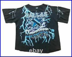 Vtg Dallas Cowboys Salem American Thunder NFL Graphic Tee Shirt Football Sz XL
