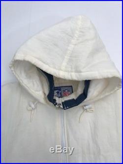 Vtg RARE WHITE Dallas Cowboys Starter Jacket Pullover Puffer Winter Coat Mens XL